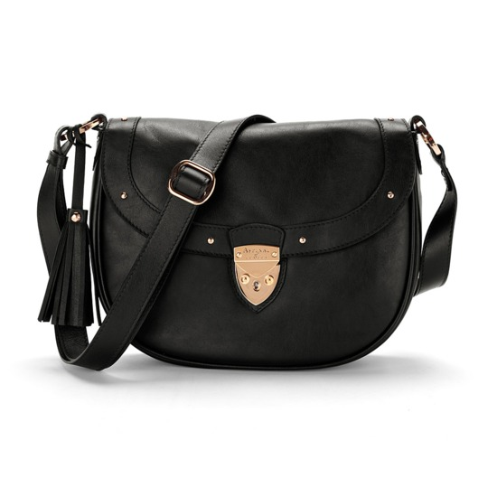 Portobello Saddle Bag in Smooth Black & Black Suede from Aspinal of London