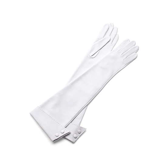 Long Leather Gloves in White from Aspinal of London