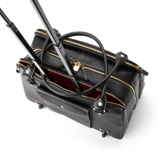 Buffalo Cabin Bag in Black Calfskin with Black Haircalf from Aspinal of London