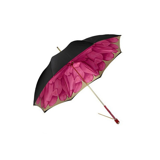 Ladies Umbrella in Black with Fuchsia Flower from Aspinal of London