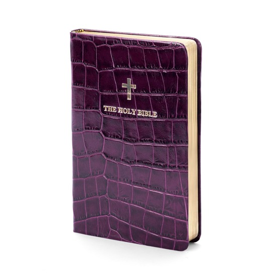 Holy Bible in Purple Croc from Aspinal of London