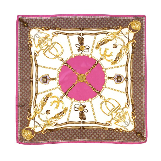 Silk Scarf with Pink Horse Shoe & Stirrup Design from Aspinal of London
