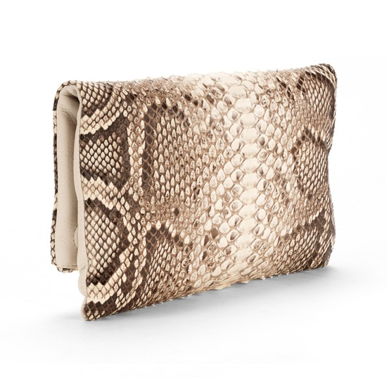Millie Clutch in Natural Python & Porcelain Pebble from Aspinal of London