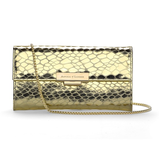 Kylie Purse Clutch with Chain in Gold Snake from Aspinal of London