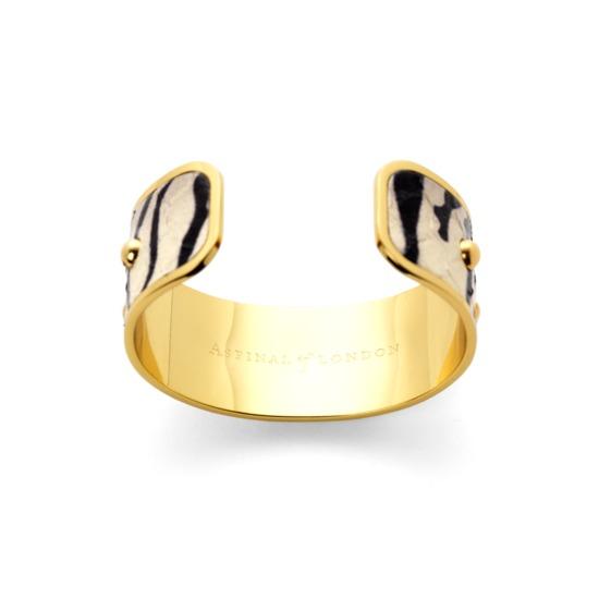 Athena Cuff Bracelet in Zebra Snakeskin from Aspinal of London