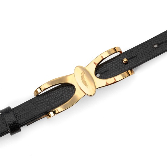 Aspinal Signature Skinny Belt in Black Lizard from Aspinal of London
