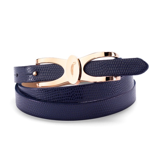 Aspinal Signature Skinny Belt in Navy Lizard from Aspinal of London