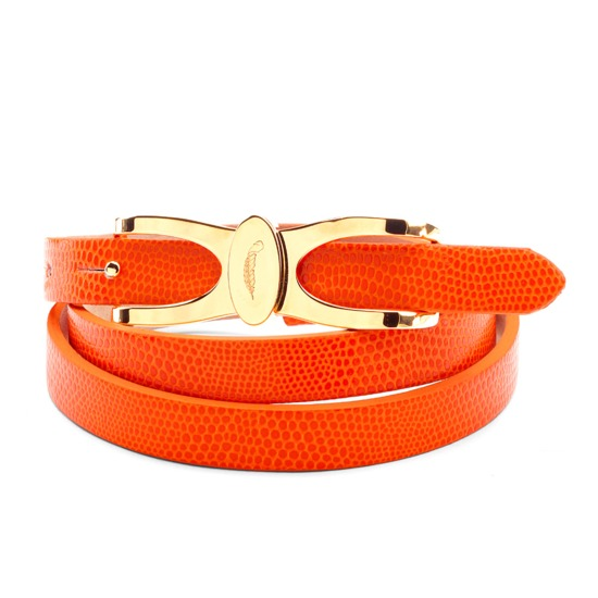 Aspinal Signature Skinny Belt in Orange Lizard from Aspinal of London
