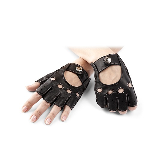 Ladies Fingerless Leather Driving Gloves in Black from Aspinal of London