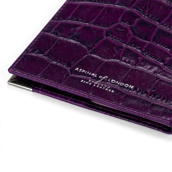 UK Passport Cover in Purple Croc from Aspinal of London