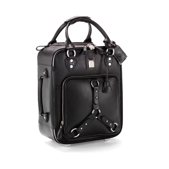 Revival Roller Cabin Bag in Black Pebble & Smooth Black from Aspinal of London