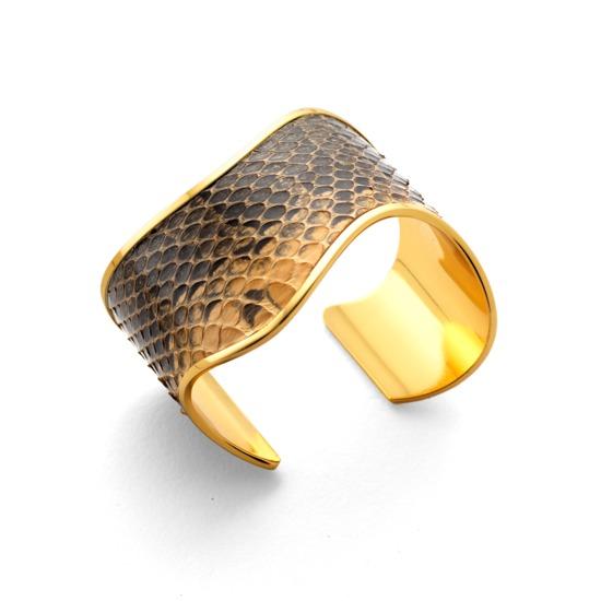 Aphrodite Cuff Bracelet in Desert Sands Snakeskin from Aspinal of London