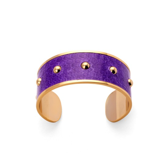 Athena Cuff Bracelet in Purple Snakeskin from Aspinal of London