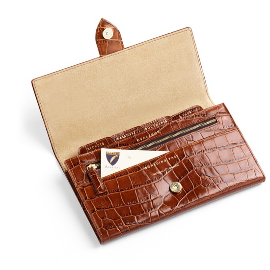 Deluxe Travel Wallet in Vintage Tan Croc & Beige Suede from Aspinal of London