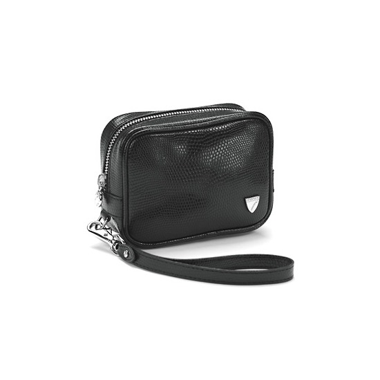Leather Media Case in Black Lizard from Aspinal of London