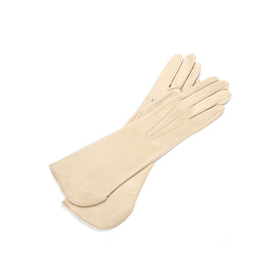 Ladies Classic Mid Length Leather Gloves in Cream from Aspinal of London