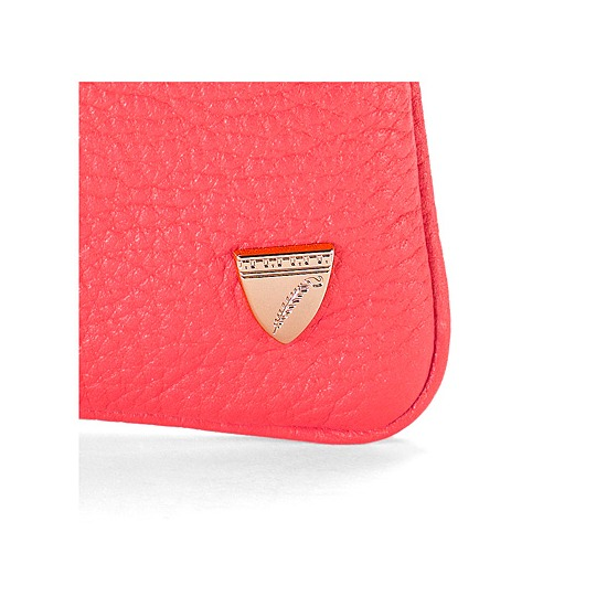Mini Coin Purse in Coral Pebble from Aspinal of London