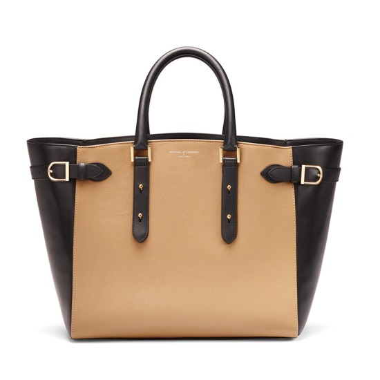 Marylebone Tote in Cappuccino Pebble & Smooth Black from Aspinal of London