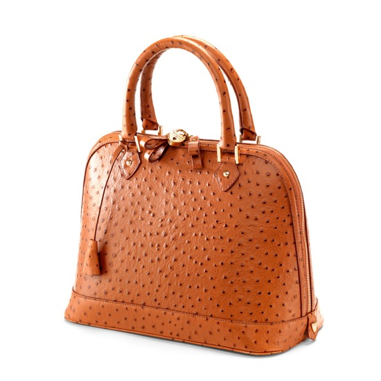 Hepburn Bag in Tan Ostrich from Aspinal of London