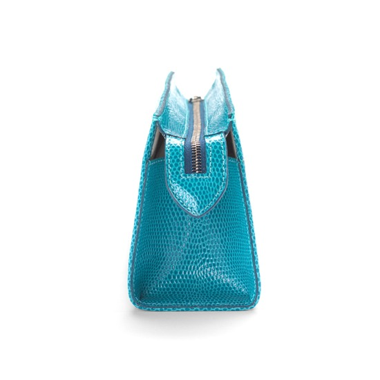 Medium Cosmetic Case in Turquoise Lizard & Cream Suede from Aspinal of London