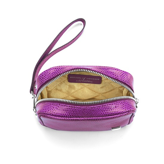 Mini Cosmetic Purse in Violet Lizard from Aspinal of London