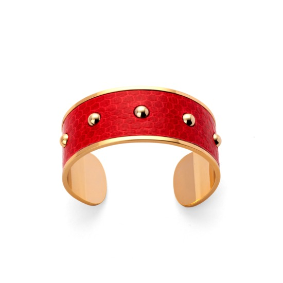 Athena Cuff Bracelet in Red Snakeskin from Aspinal of London