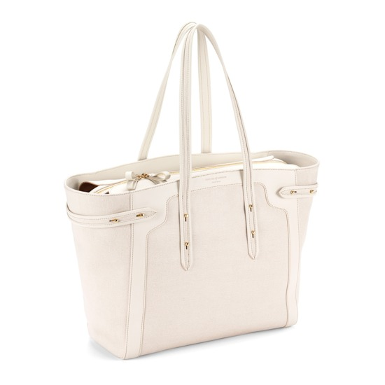 Marylebone Light in Ivory Saffiano from Aspinal of London