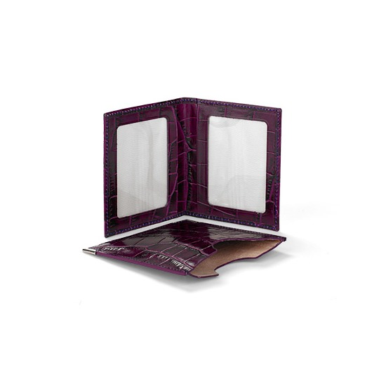 Travel Photo Frame in Purple Croc & Cream Suede from Aspinal of London