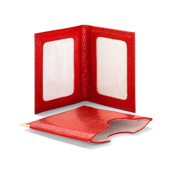 Travel Photo Frame in Red Lizard & Cream Suede from Aspinal of London