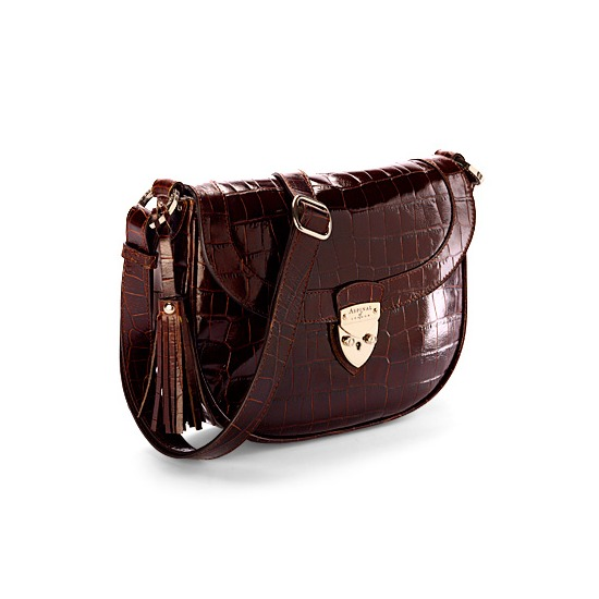 Portobello Saddle Bag in Amazon Brown Soft Croc & Stone Suede from Aspinal of London