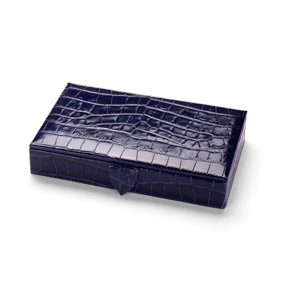 Paris Jewellery Box in Navy Croc & Cream Suede from Aspinal of London