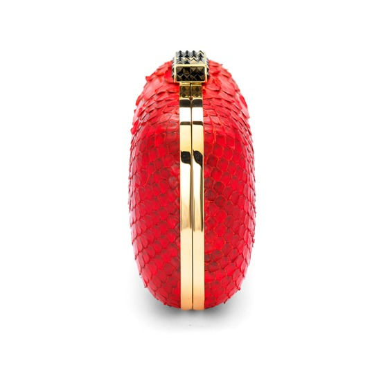Cleopatra Box Clutch in Red Python from Aspinal of London