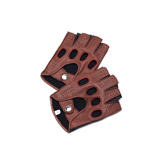 Men's Fingerless Leather Driving Gloves in Brown Deerskin from Aspinal of London