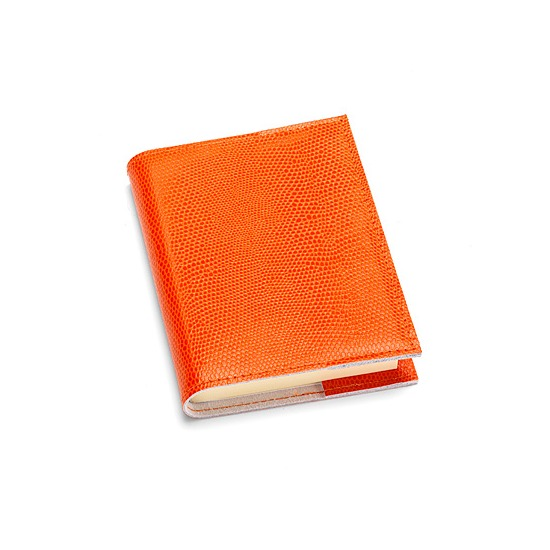 Refillable Pocket Notebook in Orange Lizard from Aspinal of London