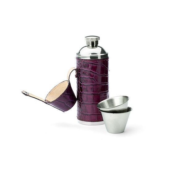 Hunter 8oz Leather Flask in Purple Croc & Cream Suede from Aspinal of London