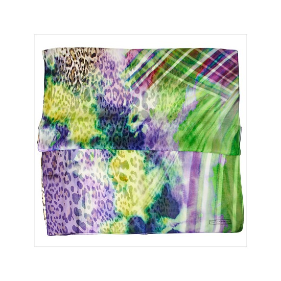 Watercolour Leopard Print Silk Scarf in Purple & Green from Aspinal of London