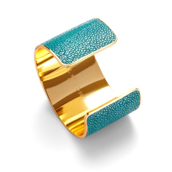 Venus Cuff Bracelet in Turquoise Stingray from Aspinal of London