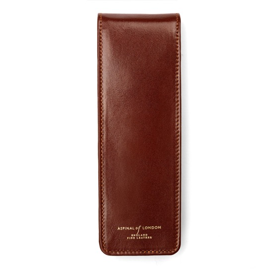 Cathedral Pen Case in Smooth Cognac & Stone Suede from Aspinal of London