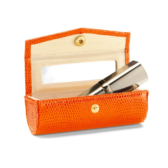 Lipstick Case in Orange Lizard from Aspinal of London