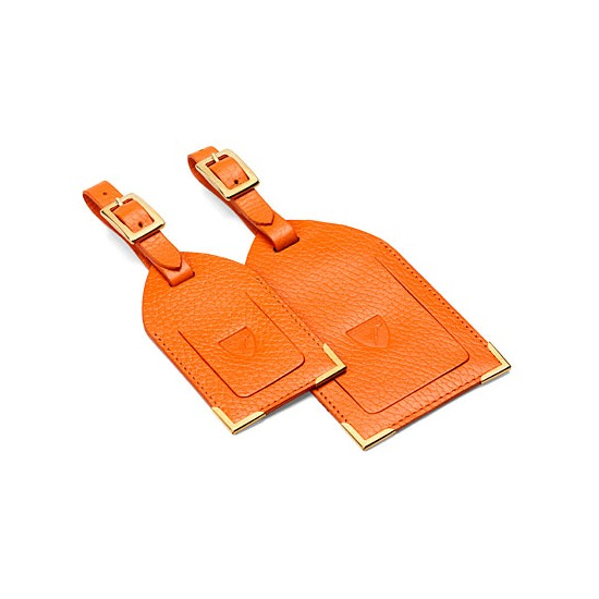Set of 2 Luggage Tags in Orange Pebble from Aspinal of London