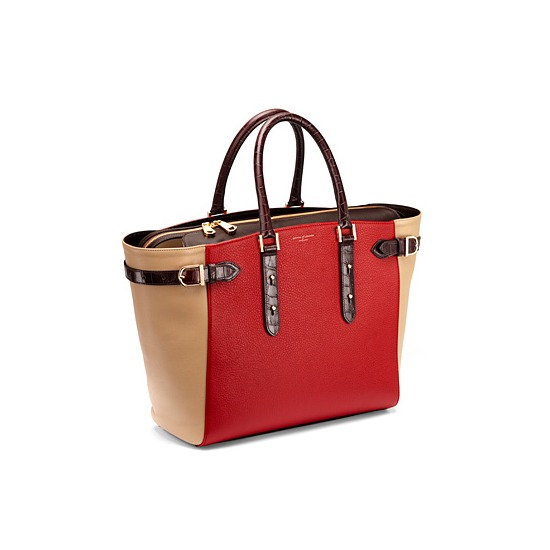 Marylebone Tote in Red Pebble & Multi Trim from Aspinal of London