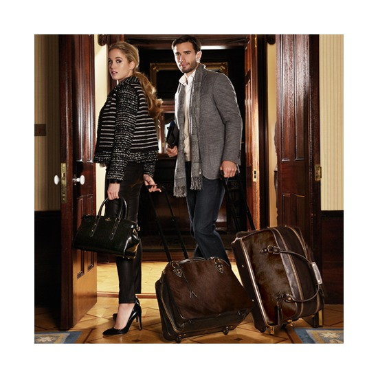 Portofino Rolling Cabin Bag in Black Calfskin & Black Haircalf from Aspinal of London