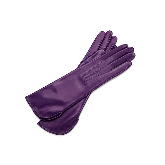 Ladies Classic Mid Length Leather Gloves in Purple from Aspinal of London