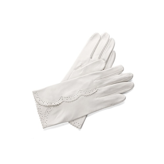 Audrey Leather Bridal Gloves in White Nappa from Aspinal of London
