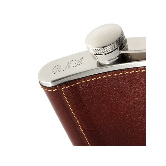 Classic 5oz Leather Hip Flask in Smooth Cognac from Aspinal of London