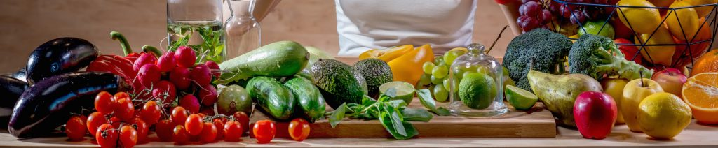 Retour de course et légumes variés