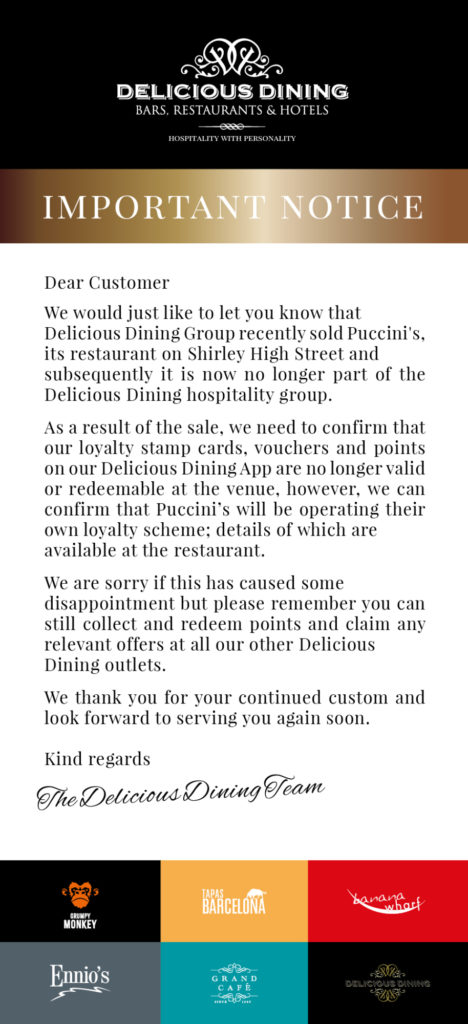 Newsletter Puccinis Important Notice