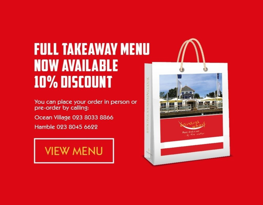 Banana Wharf Full Takeaway Menu Now Available July 2020
