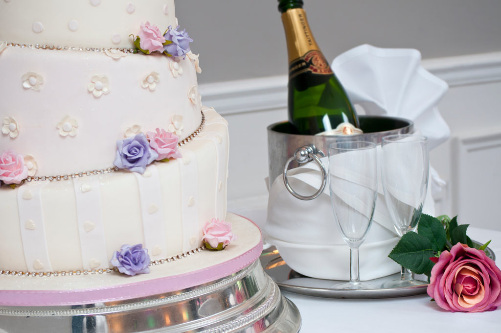 milford-hall-hotel-wedding-cake-and-champagne