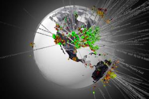 Jordkloden, med en visualisering av twittermeldinger i løpet av 24 timer.